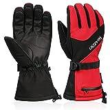 VELAZZIO Ski Gloves Waterproof Breathable Snowboard Gloves, 3M Thinsulate Insulated Warm Winter Snow Gloves, Fits Both Men & Women (Red, L)