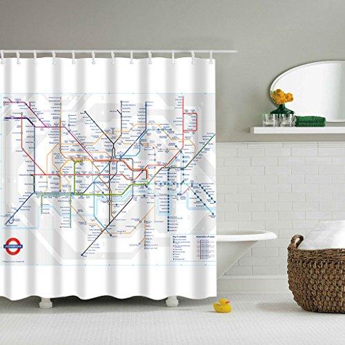 YO-HAPPY Duschvorhang London Subway Map Theme Duschvorhang Wasserdicht Polyester Mouldproof Badezimmervorhang Badzubehör mit 12 Stück Haken