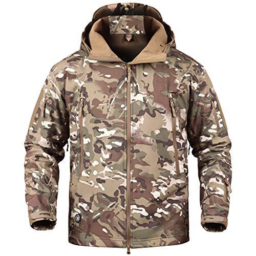 Donhobo Militärjacke für Herren, atmungsaktiv, wasserdicht, Softshell-Fleece-Jacke, Camouflage, Jagdjacke mit Kapuze Gr. XL, CP