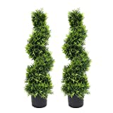 momoplant Artificial Sprial Topiary Tree Boxwood - 3ft / 35 Inch Faux Topiaries Cedar Plant Feaux Fake Greenery with Black Pot for Home Office