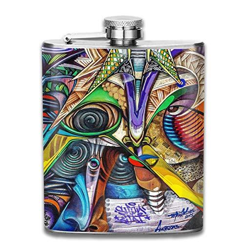 Grunge Street Art - Petaca de acero inoxidable 304, a prueba de fugas, para licor y alcohol, 7 onzas, caja de regalo