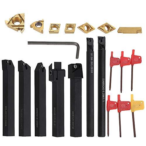 21PCS Tornio Turning Tool 45 HRC Multifunzione Tornitura in Metallo Duro Inserti Titolari Bar Alesatore con Chiavi per Tornio Utensili Supporto Dell'Utensile con Inserti in Carburo (12 MM)