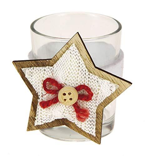 STEFANAZZI 6 Pezzi portalumini Decorati Stella Bianca per la tavola segnaposto di Natale Decorazione Regalo Natalizio Decorazioni per la casa per Tavolo soprammobili Natalizi