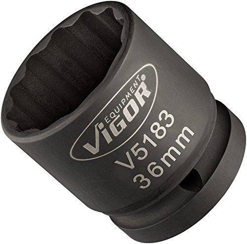 Vigor Kraft-Steckschlüssel-Einsatz (Vierkantantrieb 20 mm (3/4 Zoll), Außen-Doppel-Sechskant Profil 36 mm, extra dünnwandig) V5183