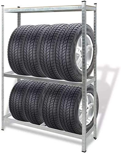 "GOTOTOP Shelf Steel Metal Storage 3 Level Industrial Silver Heavy Duty Steel Rivet Lock Boltless Tire Rack, 1752.7lb Capacity, 47.2"" x 15.7"" x 70.9"" (L x W x H)"