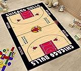 ZHMIAO Bulls - Alfombra de baloncesto, suave, duradera, antideslizante, no se decolora, fácil de limpiar, color rojo, 100 x 160 cm