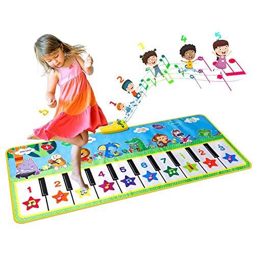 EXTSUD Piano Mat Tanzmatten Klaviermatte Musikmatte Kinder 8 Tierstimmen Klaviertastatur Spielzeug Musik Matte, Keyboard Matten Spielteppich Baby Tanzmatte für Jungen Mädchen Kinder 132*64 cm