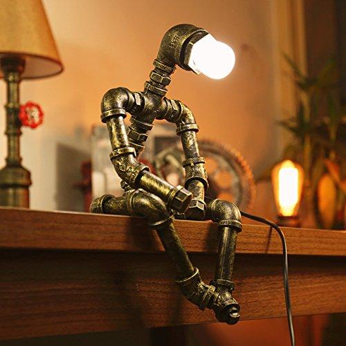 Ywyun Creative-Roboter Eisen-Lampen, retro LED-Energiesparlampen, Lichtröhren Cafe Bar Restaurant, E27-Schnittstelle (Color : B)