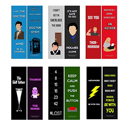 Creanoso Funny Bookmarks Series 3 - Movie Jokes (12-Pack) – Awesome Bookmarks for Men, Women, Boys, Girls, Teens – Six Assorted Bookmarks Designs – Book Reading Rewards – Book Page Clipper