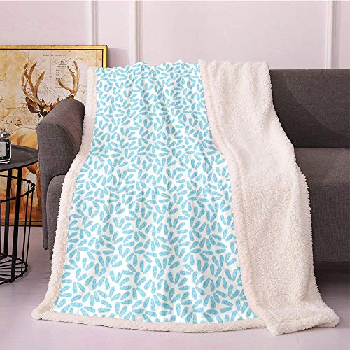 Flip Flop Fleece Throw Blanket,Pairs of Beach Thongs Design in Pale Blue Shade on White Background Blanket Small Quilt,Bed Cover Throw Blanket(40in x 50in,Pale Blue and White)