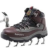 SUADEEX Mujer Hombre Zapatillas de Seguridad Botas con Puntera de Acero Impermeables Zapatos de Trabajo Entrenador Unisex Zapatillas de Senderismo,Marrón,43 EU