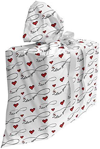 ABAKUHAUS Ik hou van jou Cadeautas voor Baby Shower Feestje Oneindigheid Herbruikbare Stoffen Tas met 3 Linten 70 cm x 80 cm Rood Zwart Wit