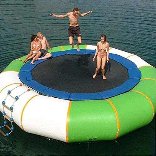 QWET 10 Foot Inflatable Water Trampoline, Closed Air Trampoline, Outdoor Water Fun Sports Facilities, Inflatable Water Gyroscope Trampoline,Green