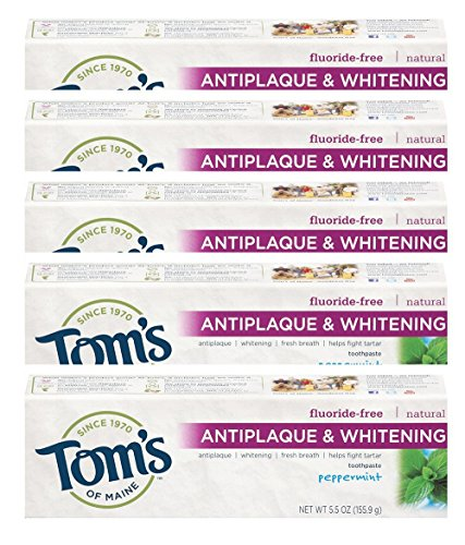 Tom's of Maine Tom's of Main Antiplaque & Whitening Fluoride Free Peppermint Toothpaste 5.50 oz (Pack of 5)