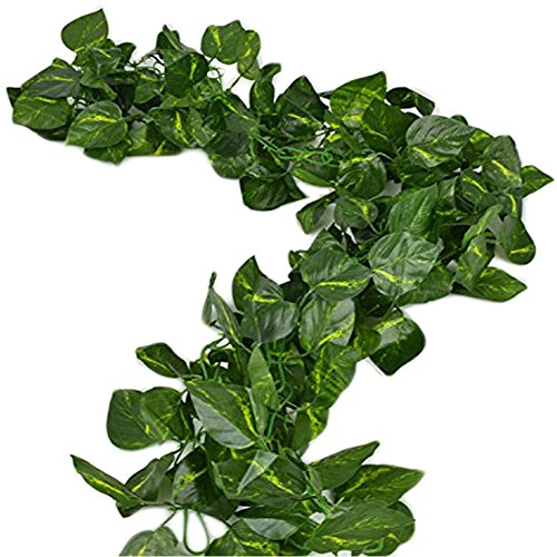 Unilove 168 feet Fake Foliage Garland Leaves Decoration Artificial Greenery Ivy Vine Plants for Home Decor Indoor Outdoors (Artificial Scindapsus Leaves)