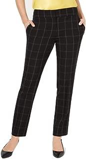 Kasper Windowpane-Plaid Pants Black 12
