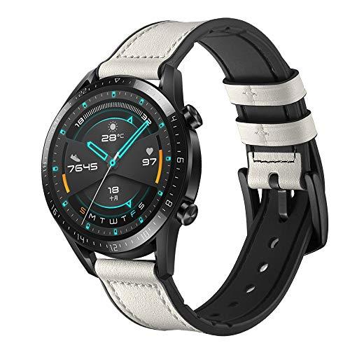XZZTX Compatible avec Huawei Bracelet 20 mm en Cuir véritable Remplacement pour Galaxy Bandeaux Bracelet Montre 42mm / Vitesse Sport/Garmin VivoActive 3,Blanc