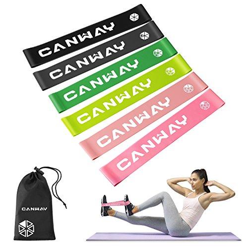 Canway Bandas de ejercicio de látex natural para ejercicios en casa, pilates, yoga, rehabilitación y fisioterapia Conjunto de 6