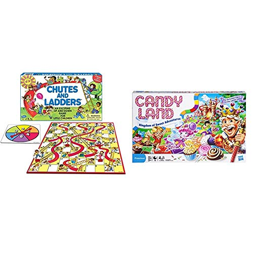 HASBRO GAMING:Chutes and Ladders Board Game & Candy Land Kingdom of Sweet Adventures Board Game for Kids Ages 3 & Up (Amazon Exclusive),Red,Original Version