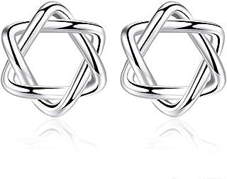 Belons - Pendientes de plata de ley 925 con diseño de estrella pulida, para mujeres y niñas
