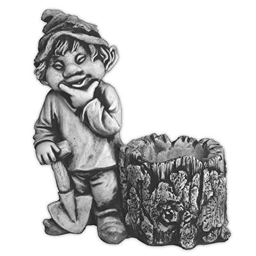 gartendekoparadies.de Figure de Pierre Massive GNOME Amusant « J'Aime la forêt » Troll Lutin en Pierre reconstituée, résistant au Gel