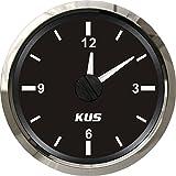KUS garantiert Clock Meter Gauge 12-Stunden-Format mit Hintergrundbeleuchtung 52 mm (2 ') 12 V / 24 V (schwarz)