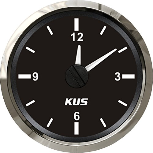 "KUS Guaranteed Clock Meter Gauge 12-Hour Format with Backlight 52mm(2"") 12V/24V"
