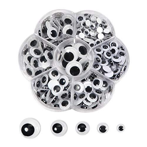 TOAOB 262 Stück Selbstklebend Wackelaugen Runde Schwarz Weiß 6mm bis 15mm Kunststoff Augen für Scrapbooking Kunsthandwerk Zubehör
