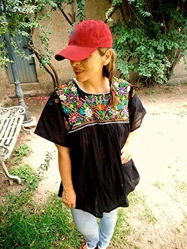 Mexican Embroidered Blouses for Women Bohemian Tops Handmade Shi