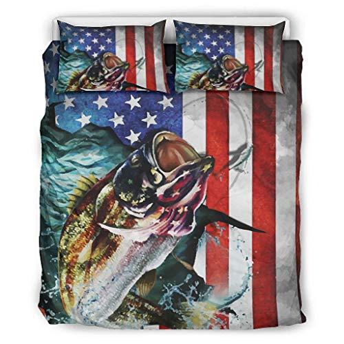 Butterfly Goods Juego de ropa de cama de 3 piezas, hipoalergénico, diseño de la bandera de América, color blanco, 264 x 229 cm