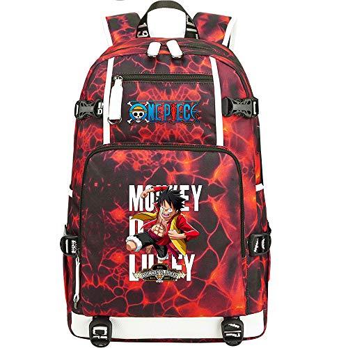 ZZGOO-LL One Piece Monkey·D·Luffy/Roronoa Zoro Mochila Mochila Casual Impermeable Viaje de Negocios con USB Unisex-A