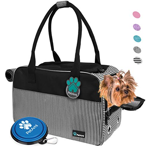 PetAmi Airline Approved Dog Purse Carrier | Soft-Sided Pet Carrier for Small Dog, Cat, Puppy, Kitten | Portable Stylish Pet Travel Handbag | Ventilated Breathable Mesh, Sherpa Bed (Stripe Black)