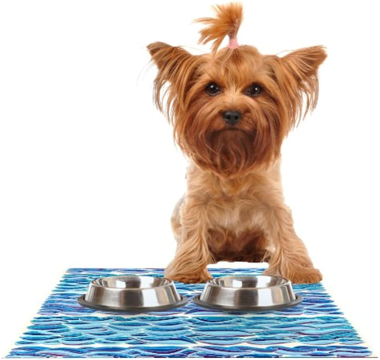 Kess InHouse Pom Graphic Design The High Sea  Feeding Mat for Pet Bowl, 18 by 13Inch