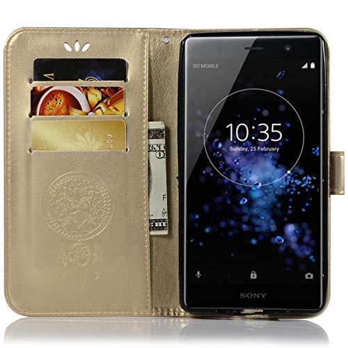 Capa flip premium para Sony Xperia XZ2, capa carteira premium Sony Xperia XZ2, capa flip floral em couro PU com suporte para cartão de crédito para Sony Xperia XZ2 Premium de 5,8 polegadas