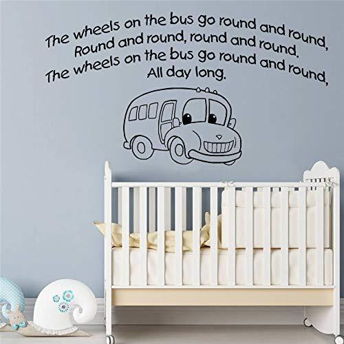 yuandp Cartoon auto muursticker muurschildering voor kinderkamer decoratie die wielen op de bus citaat sticker slaapkamer decor kunstposter 42 * 77 cm