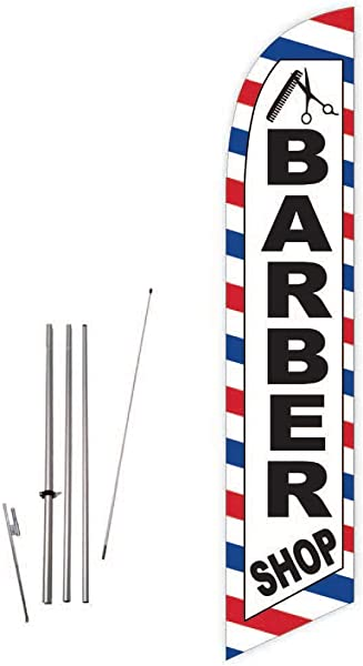 Cobb Promo Barber Shop White Feather Flag With Complete 15ft Pole Kit And Ground Spike