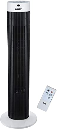 ANSIO Tower Fan 30-inch with Remote For Home and Office, 7.5 Hour Timer, 3 Speed Oscillating Cooling Fan with 2 Year Warranty - Black & White