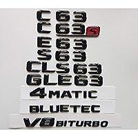 OceanAutos メルセデスベンツW204 W205クーペC63 W212 W213 E63 W222 S63 CLS63 GLC63 GLE63 AMG 4MATIC V8 BITURBO、グロスブラック3Dエンブレム