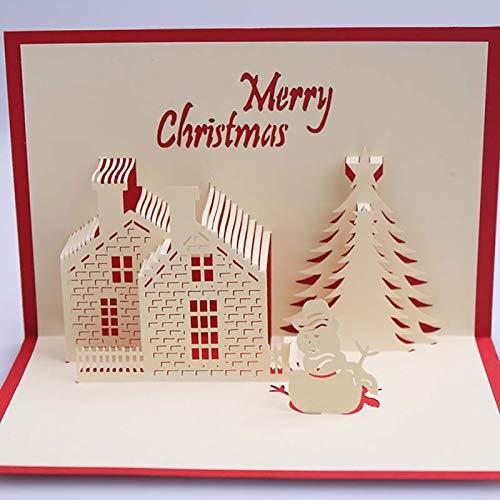 Greeting Card, Merry Christmas Cabin Tree Snowman Greeting Card Handmade Gift