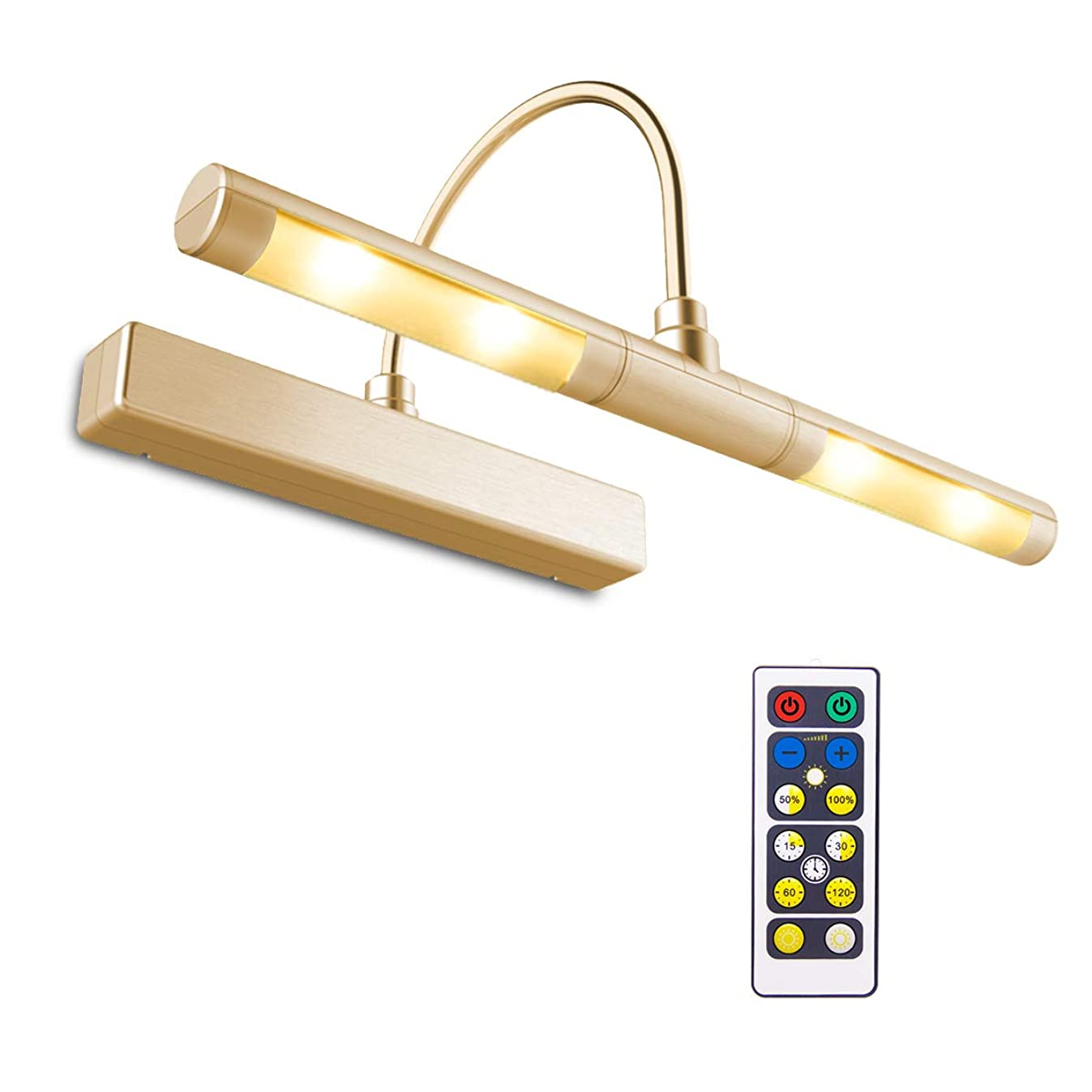 BIGLIGHT Wireless Battery Powered Bright LED Picture Light with Remote Control, 13 Inch Swivel Light Head with 3 Lighting Modes, Dimmable Lamp for Painting/Photo/Portrait/Art/Picture Frame, Gold