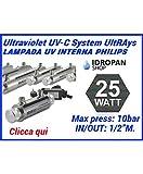 Sterilizzatore uv per acqua, Lampada UV, sistemi UV UltRAays 25 Watt. con lampada interna Philips sistema completo