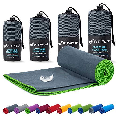 Fit-Flip Reisehandtuch Set – 18 Farben, viele Größen – Ultra leicht & kompakt – das perfekte Fitness Handtuch, Strandliegenhandtuch und Trekking Handtuch (70x140cm, Dunkelgrau - Grün)