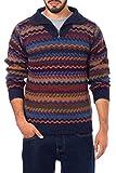 NOVICA Blue and Maroon Striped Men's 100% Alpaca Sweater, Mountain Life'