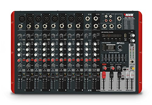 NOVIK NEO Mixer NVK 1200P Usb 12 Channel Powered Mixer,MP3, WAV and WMA files, 1200W+1200W Peak Power, DSP with internal effects,Graphic Equalizer