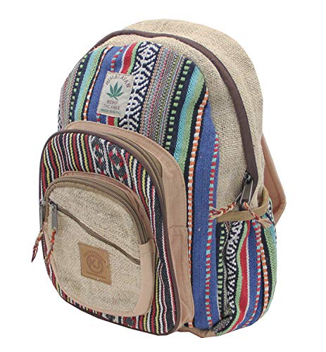 KayJayStyles Handmade Natural Hemp Nepal Backpack Purse for Women & Girls Small Lightweight Daypack (DAYPACK1)