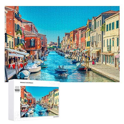 Promini Rompecabezas de madera Islas de Murano, puente a través del canal de agua Venetian Lagoon Italia blanco-color27 1000 PCS desafiante juego de rompecabezas divertido juegos de familia