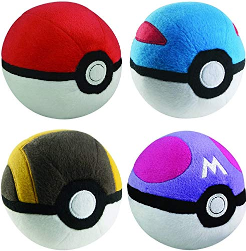 Pokéball Plush 4-Pack - Poke Ball Collection 4pc Complete Plush Set - Soft Stuffed Pokéballs - 3' Each Keychain Pokeball GreatBall UltraBall MasterBall - Ages 2+