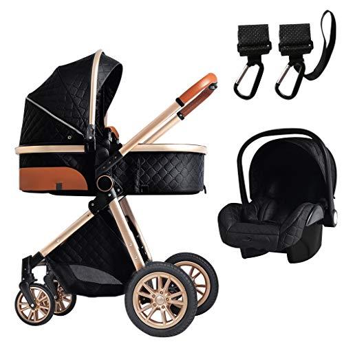 XYSQ 3 En 1 Cochecitos para Bebés |Cochecito Compacto |Cochecito De La Absorción De Choque Plegable |Cochecito De Paraguas con Cubierta De La Intemperie/Cochecito (Color : Black)