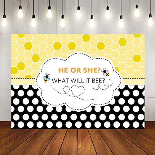 Bee Theme Gender Reveal Party Photography Backdrop: He or She What will it Bee?