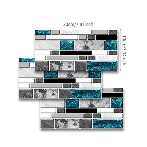 Byrhgood 20x10 cm Personalidad Retro Impermeable Pegatinas de azulejo terrazo azulejo Pegatina de Pared Pegatinas de Pared baño Pegatinas domésticas (Color : Style U, Size : 9pcs)